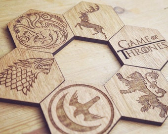 Game Of Thrones Inspired Set of 6 Hexagonal Coasters