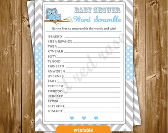 Baby Shower Word Scramble,Blue Owl shower Word Scramble Game, Shower Word Scramble, Owl Baby Shower Printable Word Scramble,INSTANT DOWNLOAD