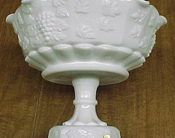 Westmoreland Milk Glass PANELED GRAPE 9 Inch Diameter Lipped COMPORT Bowl