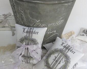 2 French grainsack lavender gift sachets Farmhouse Paris Vintage wedding guest favors bridal baby shower