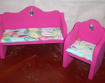 Customize: Wooden Doll Furniture Living Room Chair and Couch Novelty Display Furniture, Barbie Doll Size, Custom Color