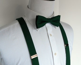 Forest Green Bowtie and Suspenders Set - Men's- Hunter, Emerald
