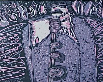 Woodblock Relief Printmaking Midnight Bloom Joyce's Ulysses