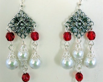 Renaissance Earrings for Necklace, Tudor Earrings, Medieval Earrings, Renaissance Jewelry, Tudor Jewelry, Replica Jewlery, Pearls & Beads