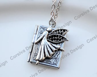 Silver Book Locket Fairy Fantasy Charm Necklace