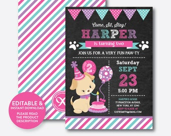Instant Download, Editable Puppy Birthday Invitation, Dog Birthday Invitation, Puppy Invitation, Dog Invitation, Girl Puppy Invite (CKB.303)