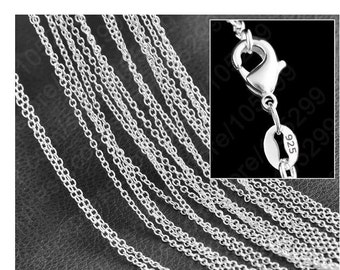 925 Sterlig Silver Filled Chain with Lobster  clasp -16'' to 30''inch -925 stamped  - Necklace Chain-Wholesale 925 Chain-sterling silver