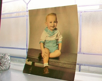 Vintage Photograph Young Boy Portrait 1950s 8 x 10
