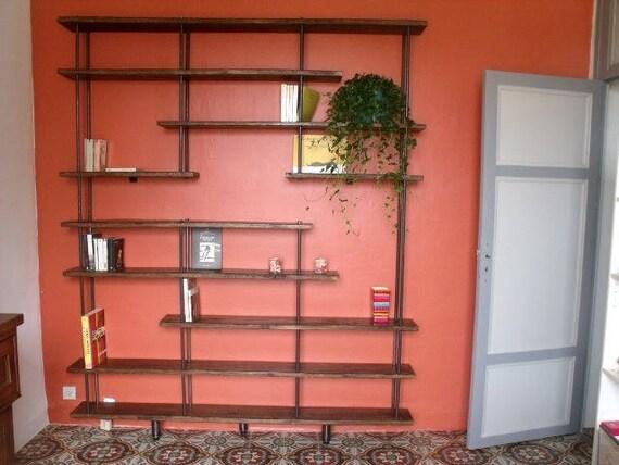 Etag re biblioth que murale bois m tal sur mesure Etagere murale sur mesure