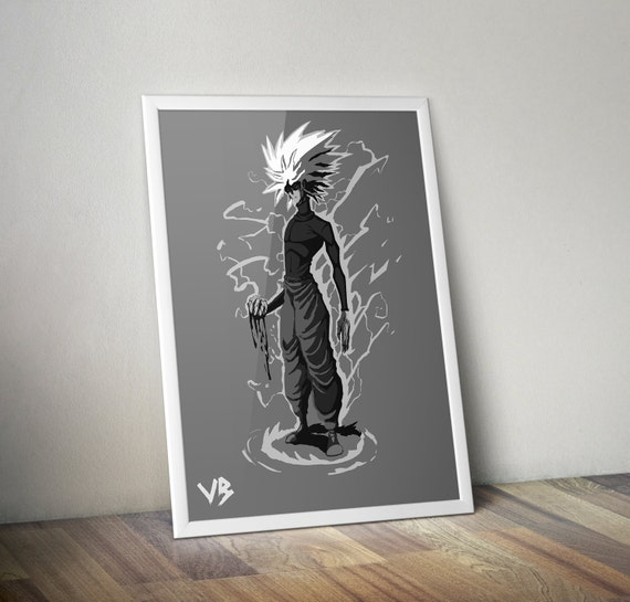 Killua Zoldyck Art Print Hunter X Anime Poster Manga Illustration Black And White VillainBros Bobby Manquen