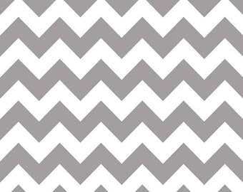Grey Chevron Fabric - Grey Cotton Fabric Riley Blake Designs - Gray Fabric - Riley Blake Basics - Cotton Chevron Grey and White