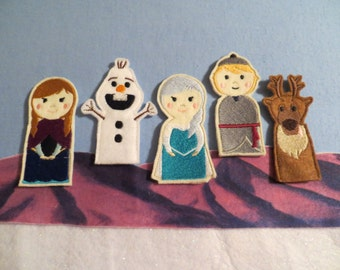 Frozen Disney Movie Inspired Finger Puppets, let it go, stocking stuffer, gift for children, gift under 15