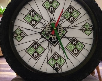 Custom clock made from recycled bike parts
