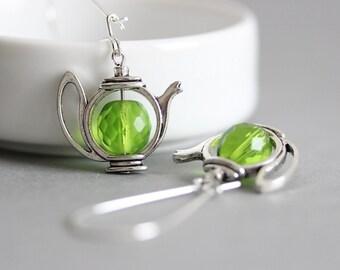 Green Tea Earrings Teapot Earrings Green Teapot Earrings Silver Teapot Earrings Gift for Tea Lovers Tea Party Teapot Jewelry Tea Teapot