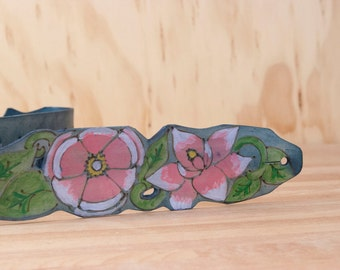 Irene Lace Guitar Strap - Leather with magnolias in pink, green and blue - Acoustic or Electric - Flower Guitar Strap - Custom Guitar Strap