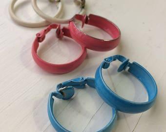 Lot of Vintage Earrings Three Pairs Metal Hoops Pink Blue and White