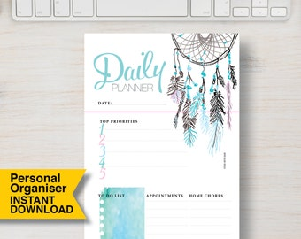 """Daily PERSONAL SIZE Planner Printable Insert. Dream Catcher Feather Boho Printable. Personal Size: 3.75"""" x 6.75"""" (95mm x 171mm). PDF   #706"""