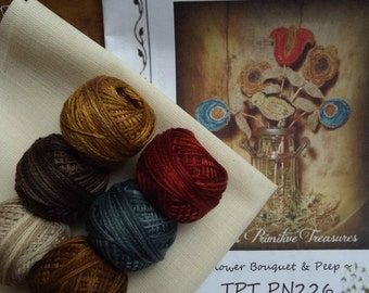 Punch Needle Pattern with Valdani Threads Kit Flower Bouquet Peep