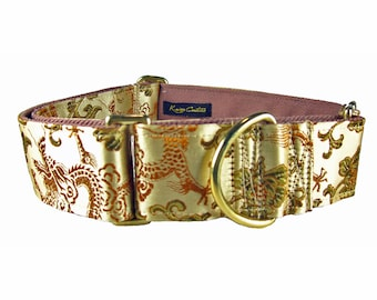 Gold Dog Collar, Martingale Collar for Greyhounds, Fancy Dog Collar, Martingale Dog Collar with Dragons, Whippet Dog Collar, Silk Dog Collar