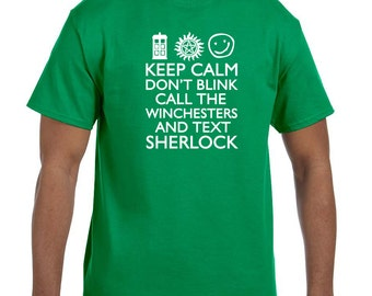 Keep calm and don't blink call the winchesters scifi shirt t-shirt tee hoodie