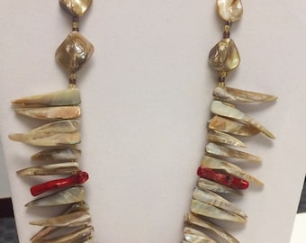 Shell Cream color Long Spike Necklace w/ gold & red details statement Necklace chic Necklace bib Necklace tribal Necklace boho Necklace