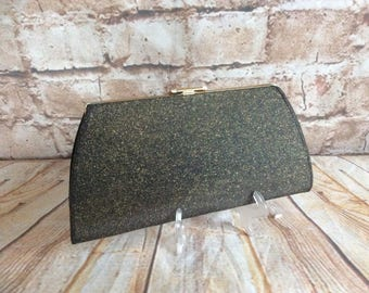 Vintage Small Clutch Bag Evening Purse Prom Ball Party Black / Gold Sparkle  c 1960s
