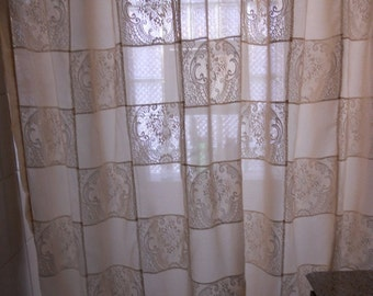 """Cream patchwork sheer and lace shower curtain, 80""""x 72"""" shower curtain, ready to ship"""