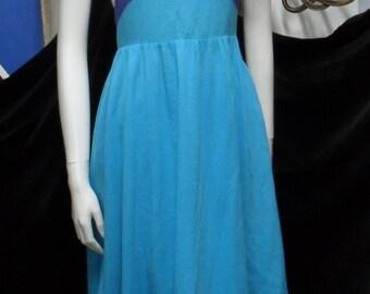 1980's LANVIN cotton dress, shades of blue, straps