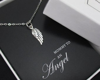 Tiny Angel Wing Necklace Sterling Silver, Miscarriage Necklace, Infant Loss Jewelry, Sympathy Card, Loss of a Child