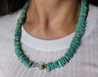 Beautiful Vintage Native American Bohemian Sterling Silver Turquoise Bead And CZ adjustable Necklace