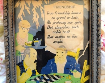 SALE!!  Vintage Men's Motto Print, Motto, Prose, Men Playing Checkers, Retro, Framed