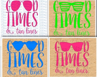 Beach SVG, Good Times and Tan Lines SVG, Summer Time Cut File, 4 Designs, Heart Sunglasses, Striped Sunglasses