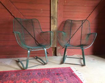 Pair of Russell Woodard sculptura high back rocking chairs
