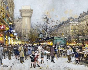 Paris, Porte Saint-Denis Painting by Eugène Galien-Laloue Art Print Reproduction