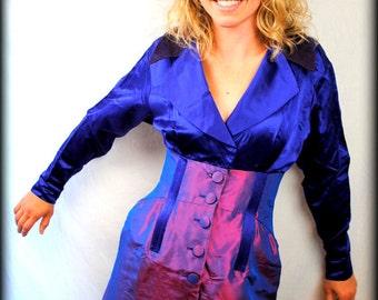 RARE Vintage 1980s Designer CHRISTIAN LACROIX Purple Iridescent Bustier Dress