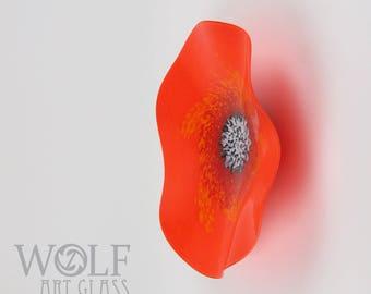MADE TO ORDER Bright Orange California Poppy Flower Blown Art Glass Wall Art Sculpture