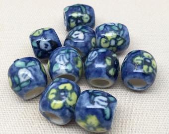 10 Vintage Blue Porcelain Oval Beads 15mm