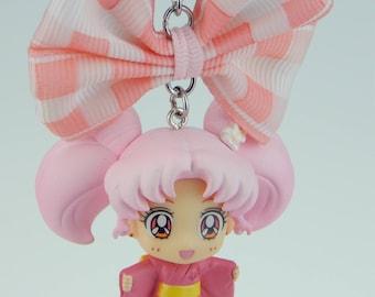 Sailor Moon, Sailor Chibi Moon, Chibiusa, Kimono, Yukata, festival, chain, with bow, for car, key fob, Japan jewelry, anime