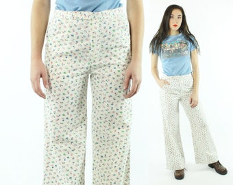 70s Bell Bottom Pants Floral Trousers Mid Rise Flared White Cotton Vintage 1970s Medium M Hippie Boho Festival