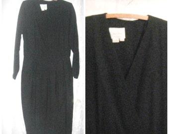 Ausverkauf! 80er Jahre schwarz Wolle wickeln Vintage Kleid / / große 10 12 schwarz wackeln Kleid Wickeloptik Arbeitermädchen warm Winter