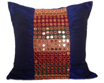 Mirror Work Pillow Cover Tribal Dowry Pillow Dark blue Decorative Pillow Cover Throw Pillow Size 14x14 16x16 18x18 20x20 22x22