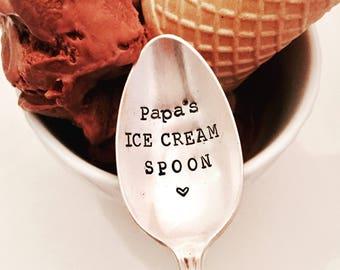 Papa's ice cream, Daddy's ice cream spoon, personalized ice cream spoon spoon, ice cream lover gift,  Flynn and Grace