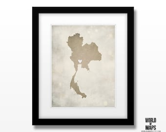 Thailand Map Print - Home Town Love - Personalized Art Print Available in Different Sizes & Colors