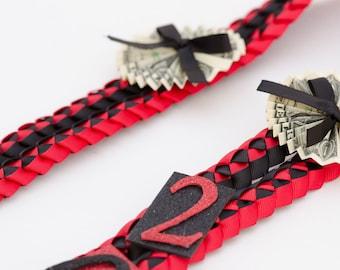 Graduation Lei, Ribbon Lei, Braided Stole, Folded Dollars, Graduation Necklace, Birthdays, Double Braid Money Lei