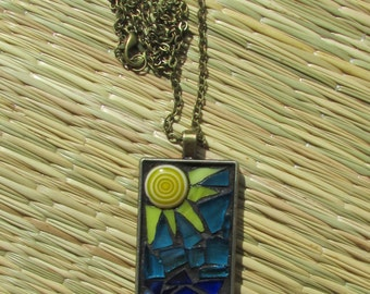 Beach Necklace/Mosaic Beach Neclace/Stained Glass Pendant Necklace/Beach Chic Necklace/Beach Chic/Boho Necklace/P35