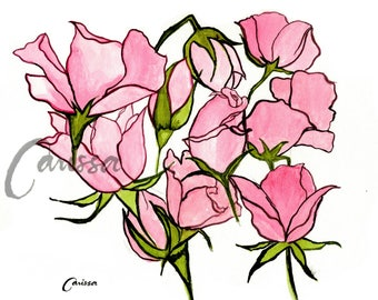 Watercolor Greeting Card / Pink Roses Greeting Card / 3.5 x 5.5 size/ Gift for her/ Card for her