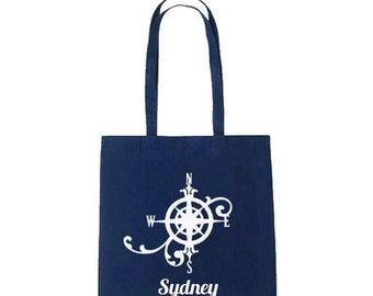Nautical Compass Tote  - Tote Bag - 100% cotton - Personalized Tote, Shopping Bag, Wedding Tote, Bridesmaid Gift, , Wedding ToteWorkout Bag