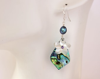 Abalone Plumeria Earrings, Paua Frangipani Earrings, Hawaiian Earrings, Mother of Pearl Plumeria, Tropical Earrings, Shell Earrings, Pearl