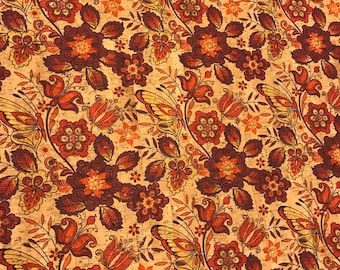 Cork Fabric - Butterflies and Blooms Print Cork - EcoFriendly - Made in Portugal