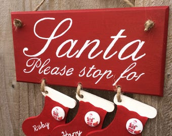 Personalised santa stop here sign plaque children christmas